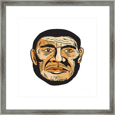 Neanderthal Man Head Etching Framed Print