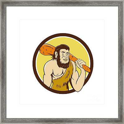 Neanderthal Man Holding Club Circle Cartoon Framed Print