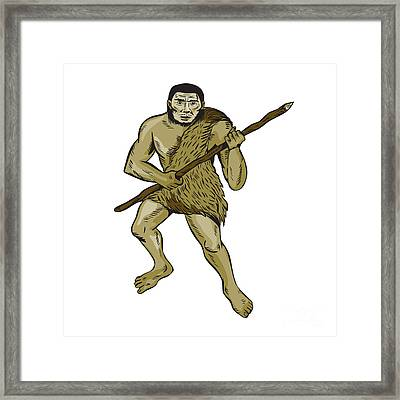 Neanderthal Man Holding Spear Etching Framed Print