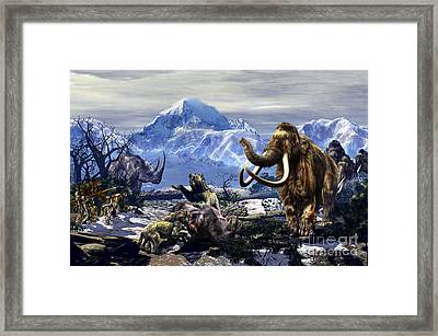 Neanderthals Approach A Group Framed Print