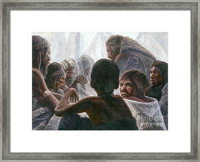 Neanderthals With Modern Humans Framed Print by Kennis & Kennis/MSF