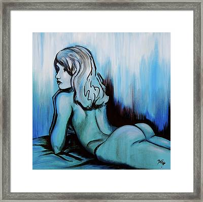 Nearly Naked Blue Ombre' Framed Print by Debi Starr
