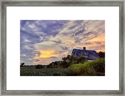 Nebraska - Barn - Sunset Framed Print