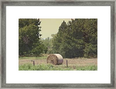 Nebraska Farm Life - Hay Bail Framed Print