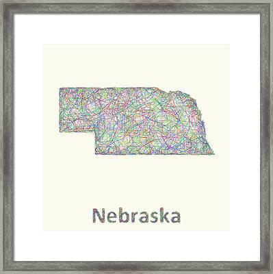 Nebraska Line Art Map Framed Print