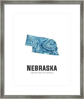 Nebraska Map Art Abstract In Blue Framed Print