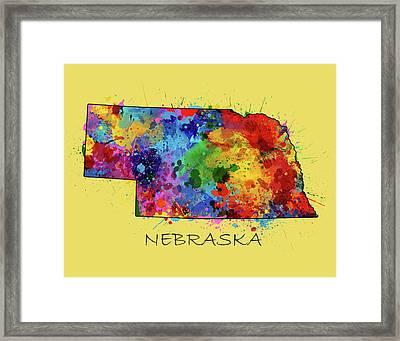 Nebraska Map Color Splatter 4 Framed Print