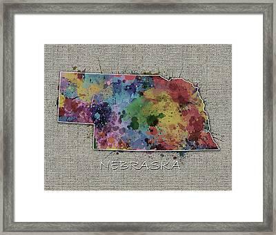 Nebraska Map Color Splatter 5 Framed Print