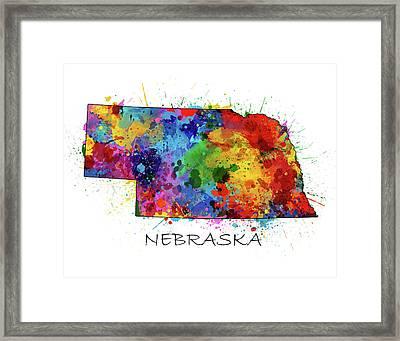 Nebraska Map Color Splatter  Framed Print