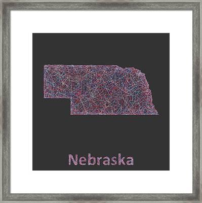 Nebraska Map Framed Print