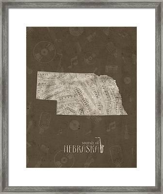 Nebraska Map Music Notes 3 Framed Print