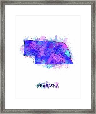 Nebraska Map Watercolor 2 Framed Print