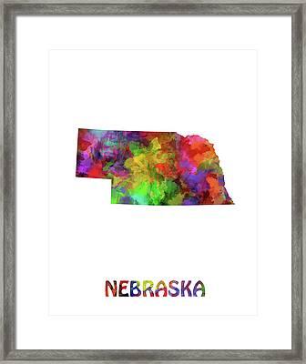 Nebraska Map Watercolor Framed Print