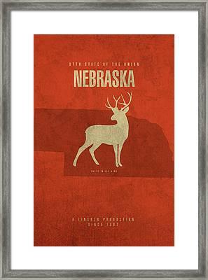 Nebraska State Facts Minimalist Movie Poster Art Framed Print