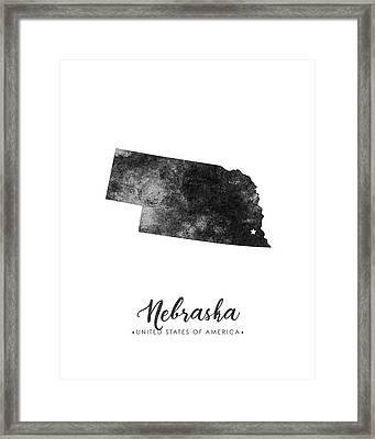 Nebraska State Map Art - Grunge Silhouette Framed Print