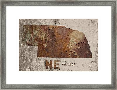 Nebraska State Map Industrial Rusted Metal On Cement Wall With Founding Date Series 039 Framed Print by Design Turnpike