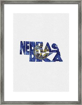 Nebraska Typographic Map Flag Framed Print