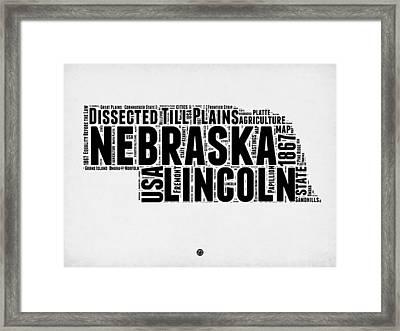 Nebraska Word Cloud 2 Framed Print by Naxart Studio
