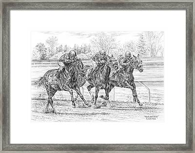 Neck And Neck - Horse Racing Art Print Framed Print by Kelli Swan