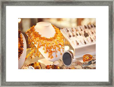 Necklace Of Amber Beads In Shop Framed Print