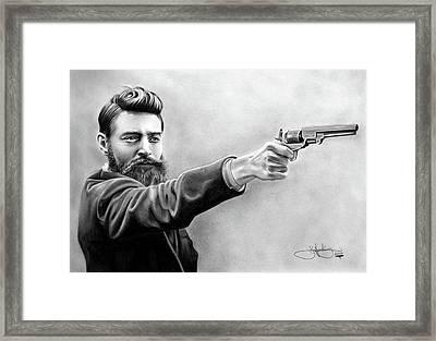 Ned Kelly Drawing Framed Print by John Harding