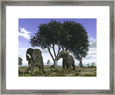 Nedoceratops Graze Beneath A Giant Oak Framed Print by Walter Myers