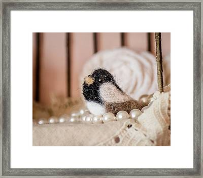 Needle Felted Carolina Chickadee Framed Print