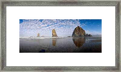 Needles And Haystack Rock Formations Framed Print by Panoramic Images