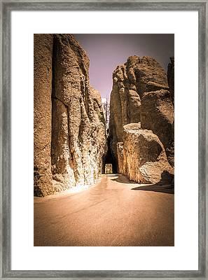 Needles Eye Tunnel At Custer State Park, Black Hills. South Dakota. Framed Print