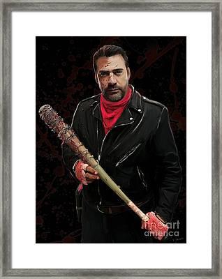 Negan With Blood Framed Print