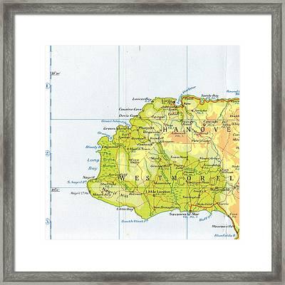 Negril Jamaica Map Framed Print