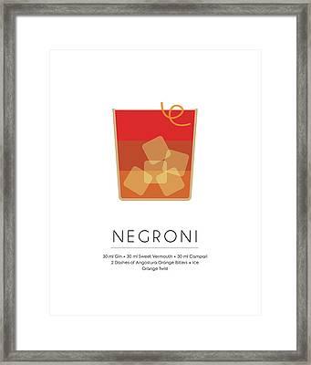 Negroni Classic Cocktail - Minimalist Print Framed Print