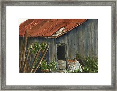 Neighbor Don's Old Barn 2 Framed Print by Marsha Elliott