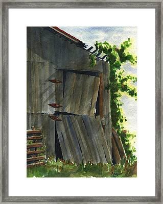 Neighbor Dons Old Barn 3 Framed Print by Marsha Elliott