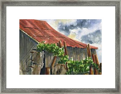 Neighbor Don's Old Barn Framed Print by Marsha Elliott