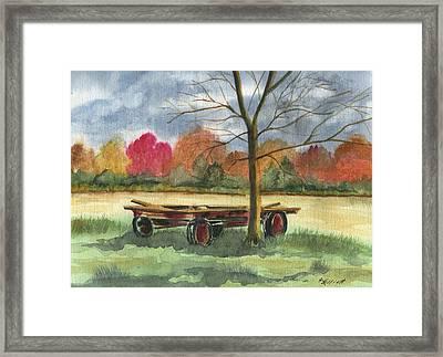 Neighbor Dons Old Wagon Framed Print