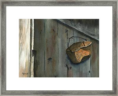 Neighbor Dons Rusted Kettle Framed Print by Marsha Elliott
