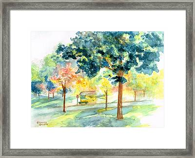 Neighborhood Bus Stop Framed Print
