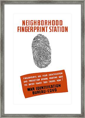 Neighborhood Fingerprint Station Framed Print by War Is Hell Store