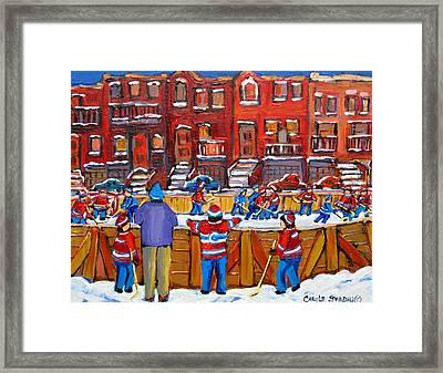 Neighborhood  Hockey Rink Framed Print