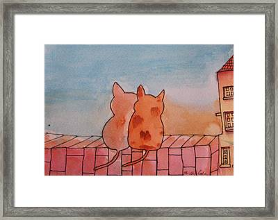 Framed Print featuring the painting Neighbourhood Watch by Trilby Cole