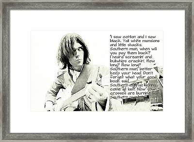Neil Young And Lyrics Framed Print by John Malone