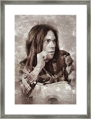 Neil Young By Mary Bassett Framed Print