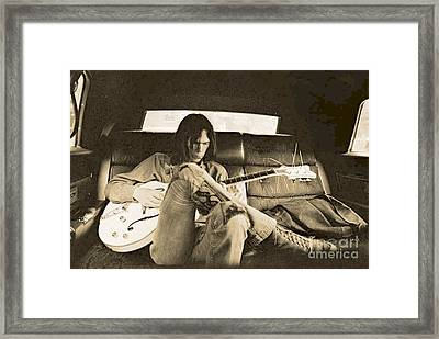 Neil Young In The Backseat Framed Print