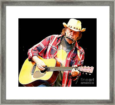 Neil Young Framed Print by John Malone