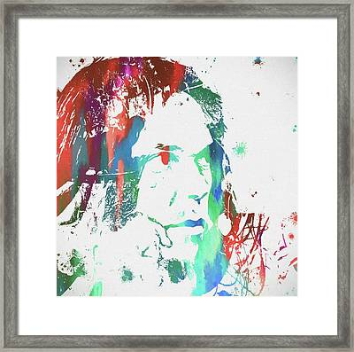 Neil Young Paint Splatter Framed Print