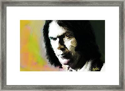 Neil Young Portrait  Framed Print by Enki Art