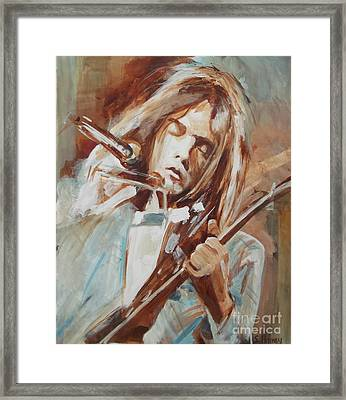 Neil Young Framed Print by Sandra Haney
