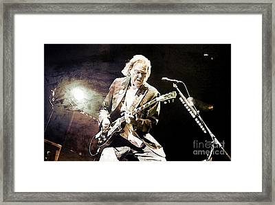 Neil Young Sepia And Textures Framed Print by John Malone