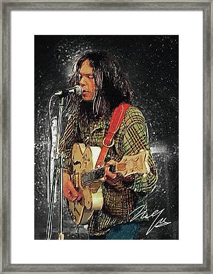 Neil Young Framed Print by Taylan Apukovska